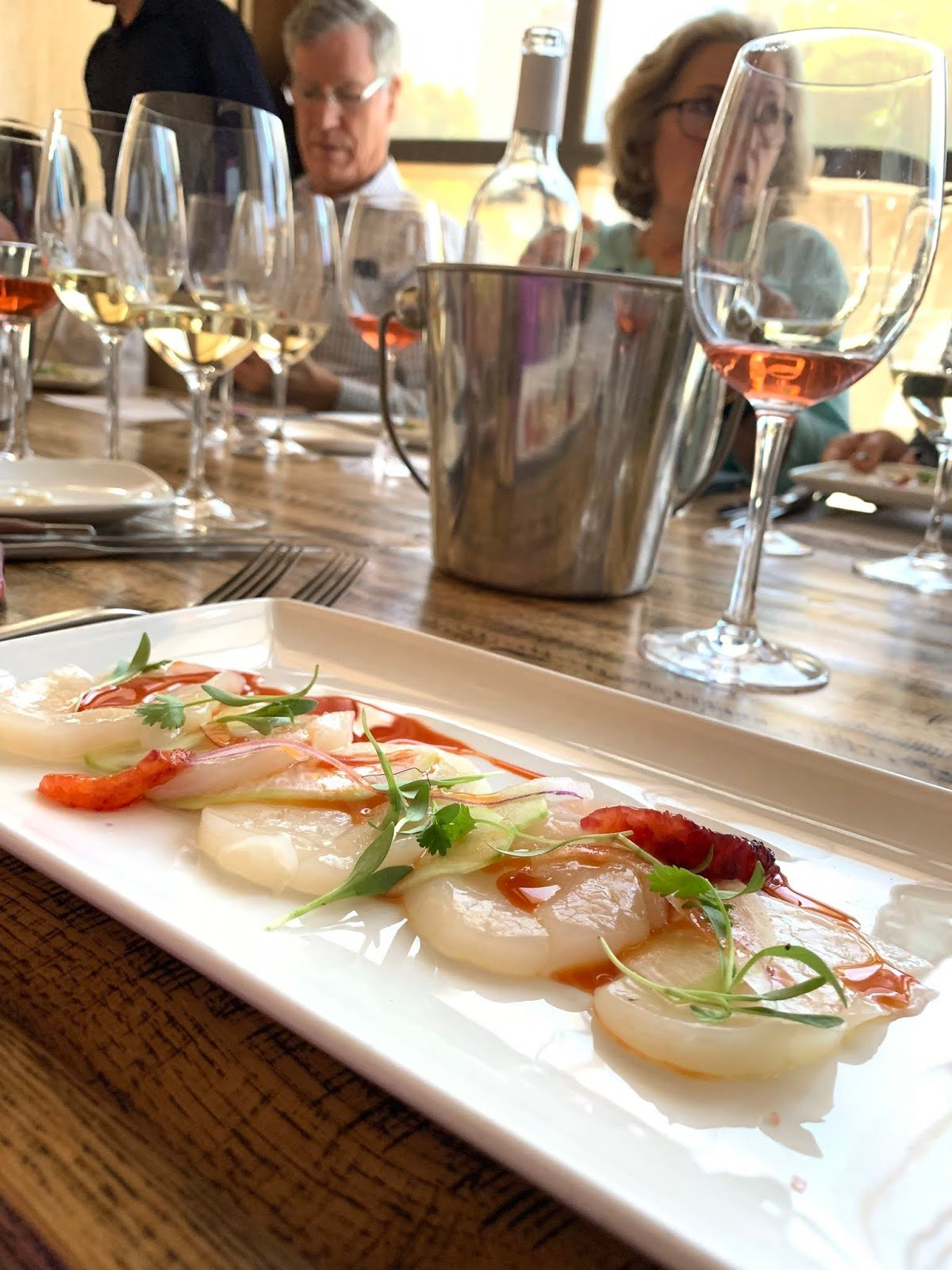 Diver Scallop Crudo with Cucumber Brunoises, Blood Orange Reduction
