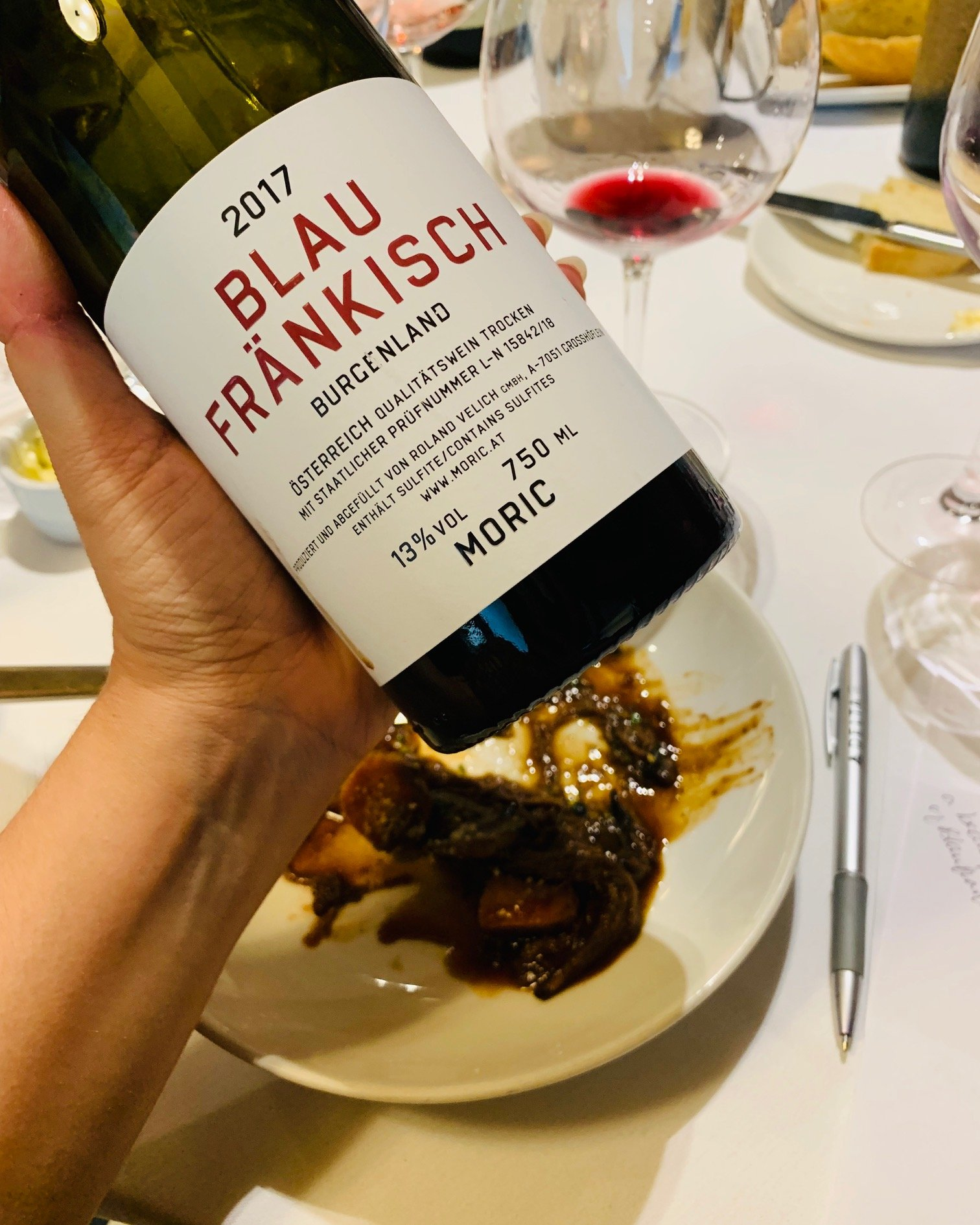 food and wine pairings Moric Blaufränkisch 2017